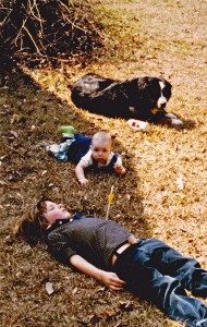 A dog, a baby and a boy. It was summer. Somebody thought he was an archer. (click to enlarge)