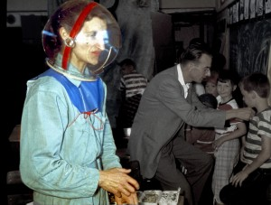 Barbara with toy space helmet