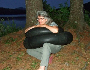 Joan with tires